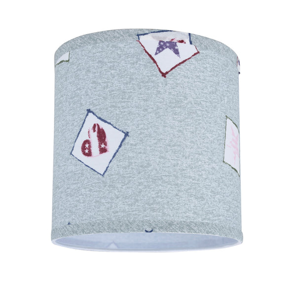 "# 31053  Transitional Hardback Drum (Cylinder) Shape Spider Lamp Shade, Light Blue & Patriotic Accents, 8"" wide (8"" x 8"" x 8"")"