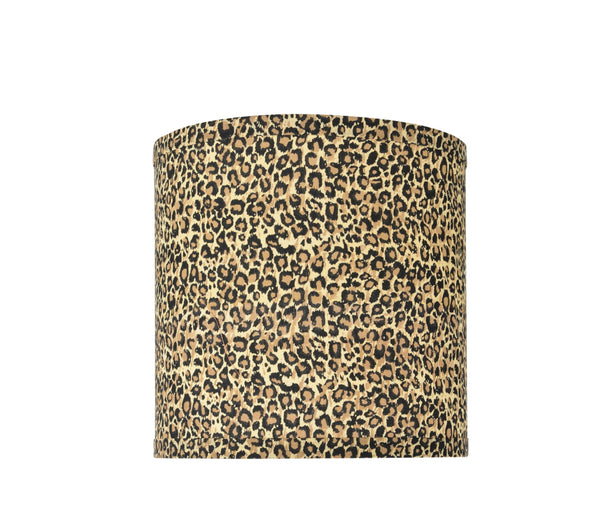 "# 31054 Transitional Hardback Drum (Cylinder) Shape Spider Construction Lamp Shade, Leopard Pattern, 8"" wide (8"" x 8"" x 8"")"