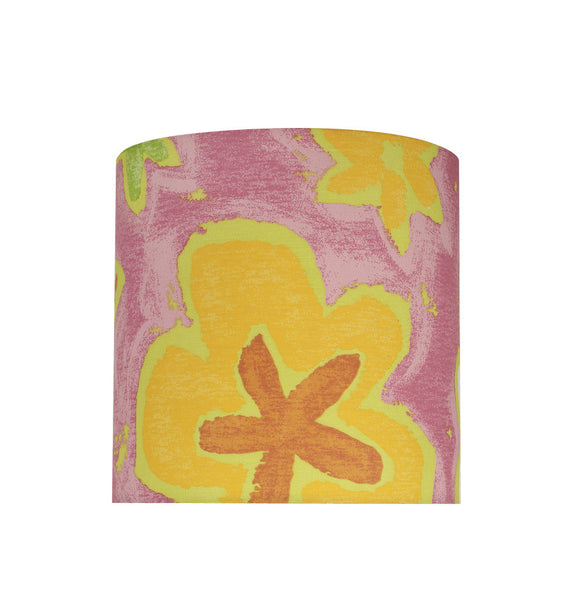 # 31061 Transitional Drum (Cylinder) Shaped Spider Construction Lamp Shade in Pink with Flowers, 8