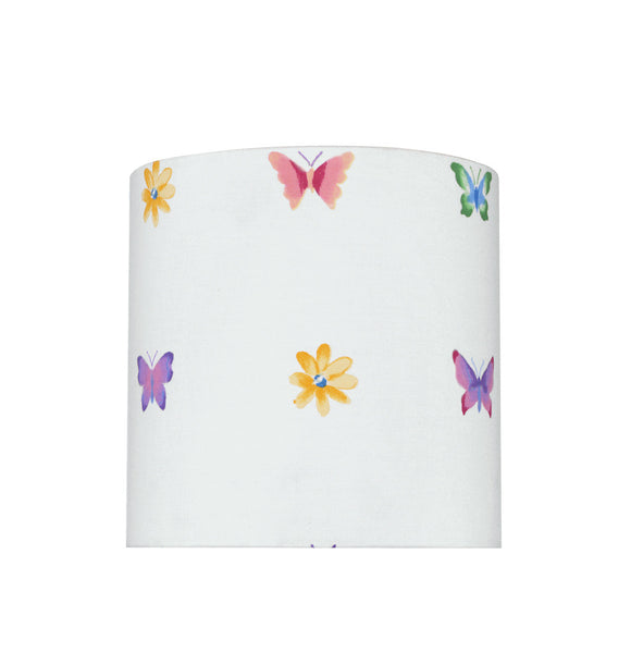 # 31062 Transitional Drum (Cylinder) Shaped Spider Construction Lamp Shade in White with Butterfly & Flowers, 8