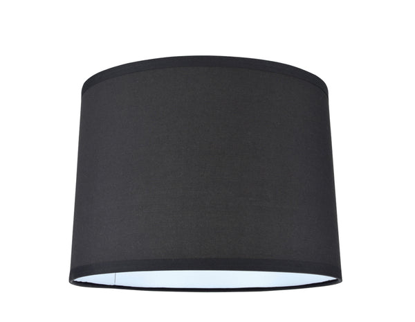 "# 31066 Transitional Hardback Drum (Cylinder) Shape Spider Construction Lamp Shade in Black, 14"" wide (13"" x 14"" x 10"")"