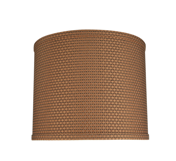 "# 31089 Transitional Hardback Drum (Cylinder) Shaped Spider Construction Lamp Shade in Brown, 12"" wide (12"" x 12"" x 10"")"