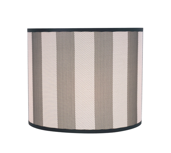 "# 31091 Transitional Drum (Cylinder) Shaped Spider Construction Lamp Shade in Hunter Green & White Striped, 12"" wide (12"" x 12"" x 10"")"