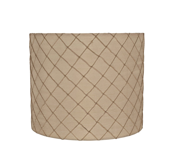 "# 31095 Transitional Drum (Cylinder) Shaped Spider Construction Lamp Shade in Beige, 12"" wide (12"" x 12"" x 10"")"