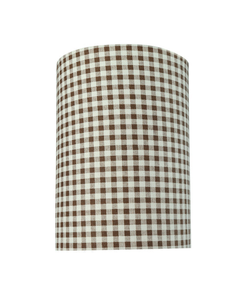 "# 31113 Transitional Hardback Drum (Cylinder) Shaped Spider Construction Lamp Shade in Brown, 8"" wide (8"" x 8"" x 11"")"