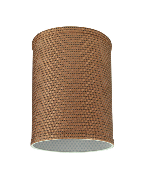 "# 31115 Transitional Hardback Drum (Cylinder) Shaped Spider Construction Lamp Shade in Brown, 8"" wide (8"" x 8"" x 11"")"
