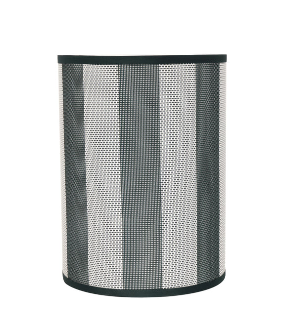 # 31120 Transitional Drum (Cylinder) Shaped Spider Construction Lamp Shade in Hunter Green & White Striped, 8