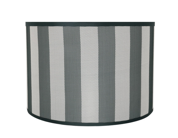 # 31161 Transitional Drum (Cylinder) Shaped Spider Construction Lamp Shade in Hunter Green & White Striped, 16