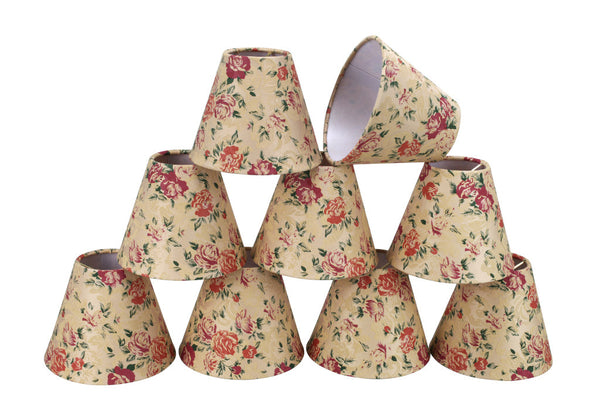 "# 32003-X Small Hardback Empire Shape Mini Chandelier Clip-On Lamp Shade, Transitional Design in Floral Print, 6"" bottom width (3"" x 6"" x 5"") - Sold in 2, 5, 6 & 9 Packs"