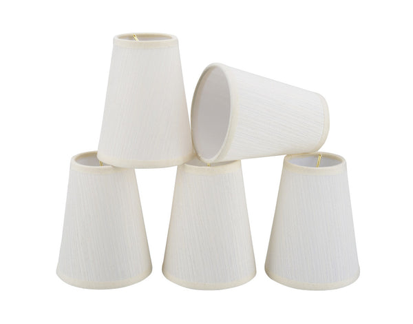"# 32004-X Small Hardback Empire Mini Chandelier Clip-On Shade, Transitional Design in Off White Fabric, 4"" bottom width (2 1/2"" x 4"" x 5"") - Sold in 2, 5, 6 & 9 Packs"