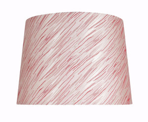 "# 32013 Transitional Hardback Empire Shape Spider Construction Shade in Taupe with Red Striping, 14"" wide (12"" x 14"" x 10"")"