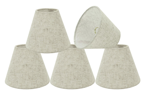 "# 32039-X Small Hardback Empire Shape Mini Chandelier Clip-On Lamp Shade, Transitional Design, Off White, 6"" bottom width (3"" x 6"" x 5"") - Sold in 2, 5, 6 & 9 Packs"