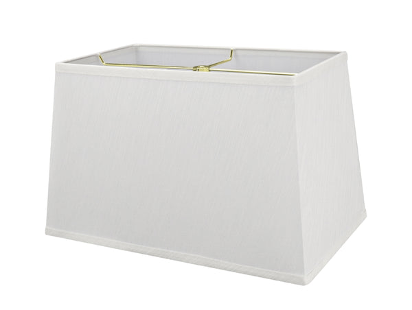 "# 32049 Transitional Rectangle Hardback Shape Spider Construction Shade, Eggshell, 16"" wide, Top: 8"" + 14"" Bottom: 10"" + 16""  Height: 10"""