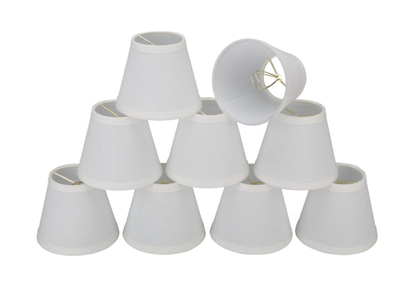 "# 32103-X Small Hardback Empire Shape Mini Chandelier Clip-On Lamp Shade, Transitional Design in White, 6"" bottom width (3"" x 6"" x 5"") - Sold in 2, 5, 6 & 9 Packs"
