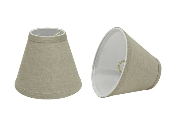 # 32112-X Small Hardback Empire Shape Chandelier Clip-On Lamp Shade Set of 2, 5, 6,and 9, Transitional Design in Khaki, 6