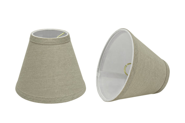 "# 32112-X Small Hardback Empire Shape Chandelier Clip-On Lamp Shade Set of 2, 5, 6,and 9, Transitional Design in Khaki, 6"" bottom width (3"" x 6"" x 5"")"