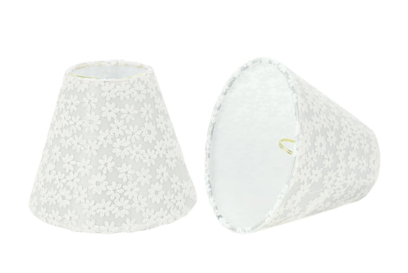 # 32113-X Small Hardback Empire Shape Chandelier Clip-On Lamp Shade Set of 2, 5, 6,and 9, Transitional Design in White, 6