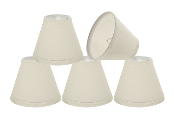 "# 32118-X Small Hardback Empire Shape Chandelier Clip-On Lamp Shade Set of 2, 5, 6,and 9, Transitional Design in Off White, 6"" bottom width (3"" x 6"" x 5"")"