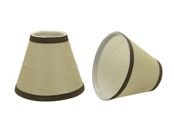 "# 32121-X Small Hardback Empire Shape Chandelier Clip-On Lamp Shade Set of 2, 5, 6,and 9, Transitional Design in Beige, 6"" bottom width (3"" x 6"" x 5"")"