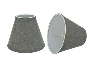 "# 32122-X Small Hardback Empire Shape Chandelier Clip-On Lamp Shade Set of 2, 5, 6,and 9, Transitional Design in Grey, 6"" bottom width (3"" x 6"" x 5"")"