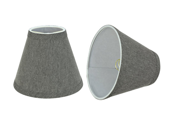 # 32122-X Small Hardback Empire Shape Chandelier Clip-On Lamp Shade Set of 2, 5, 6,and 9, Transitional Design in Grey, 6