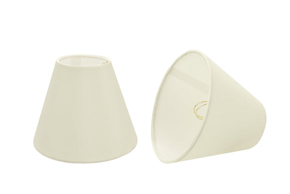 # 32123-X Small Hardback Empire Shape Chandelier Clip-On Lamp Shade Set of 2, 5, 6, and 9, Transitional Design in Ivory, 6