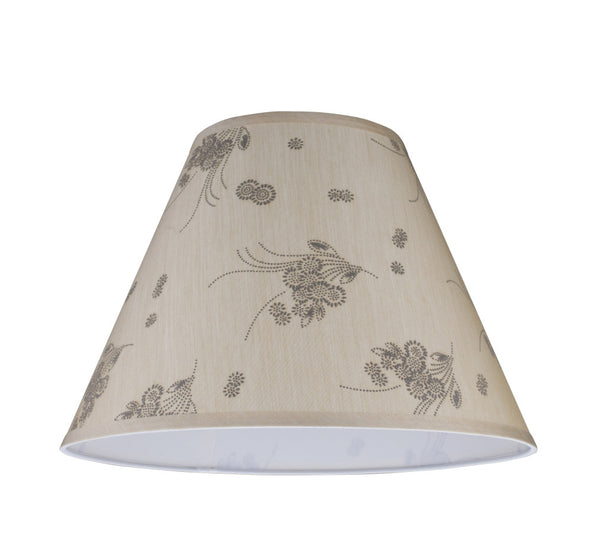"# 32150 Transitional Hardback Empire Shape Spider Construction Lamp Shade, Beige - Floral Design, 15"" wide (7"" x 15"" x 11"")"