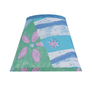 "# 32172 Transitional Hardback Empire Shape Spider Construction Shade, Beach Theme in Blue & Green, 9"" wide (5"" x 9"" x 7"")"