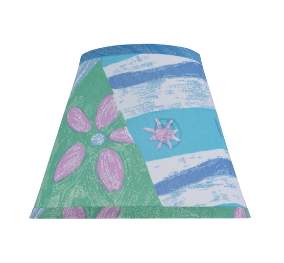 # 32172 Transitional Hardback Empire Shape Spider Construction Shade, Beach Theme in Blue & Green, 9