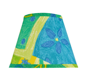 "# 32173 Transitional Hardback Empire Shape Spider Construction Shade, Blue, Yellow & Green Print, 9"" wide (5"" x 9"" x 7"")"