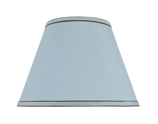 # 32183 Hardback Shaped (spider) Shade in Light Blue Linen Textured Fabric with Trim - Aspen Creative Corporation