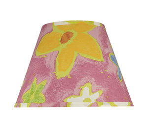 "# 32187 Transitional Hardback Empire Shaped Spider Construction Lamp Shade in Pink with Flowers, 13"" wide (7"" x 13"" x 9 1/2"")"