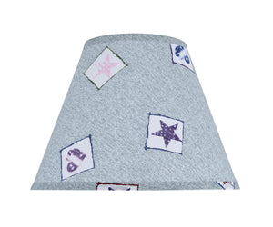 "# 32191 Transitional Hardback Empire Shape Spider Construction Shade, Light Blue & Patriotic Accents, 12"" wide (6"" x 12"" x 9"")"