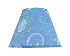 "# 32192 Transitional Hardback Empire Shape Spider Construction Lamp Shade in Blue with Flower Print, 12"" wide (6"" x 12"" x 9"")"
