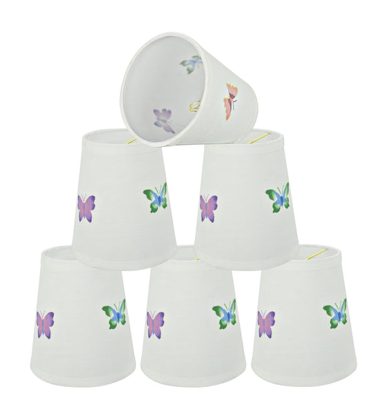 "# 32441-X Small Hardback Empire Shape Chandelier Clip-On Lamp Shade Set of 2, 5, 6,and 9, Transitional Design in White, 5"" bottom width (3 1/2"" x 5"" x 5 1/2"")"