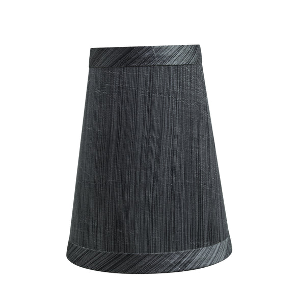 "# 32651-X Small Hardback Empire Shape Chandelier Clip-On Lamp Shade Set of 2, 5, 6,and 9, Transitional Design in Grey & Black, 4"" bottom width (2 1/2"" x 4"" x 5"")"