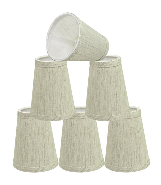 "# 32655-X Small Hardback Empire Shape Chandelier Clip-On Lamp Shade Set of 2, 5, 6,and 9, Transitional Design in Off White, 4"" bottom width (2 1/2"" x 4"" x 5"" )"