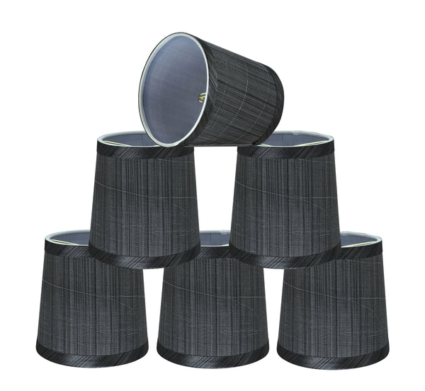 "# 32831-X Small Hardback Empire Shape Chandelier Clip-On Lamp Shade Set of 2, 5, 6,and 9, Transitional Design in Grey & Black, 5"" bottom width (4"" x 5"" x 5"")"