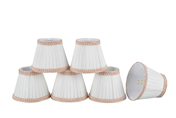 "# 33001-X Small Pleated Empire Shape Mini Chandelier Clip-On Lamp Shade, Transitional Design in Crème, 5"" bottom width (3"" x 5"" x 4"" ) - Sold in 2, 5, 6 & 9 Packs"
