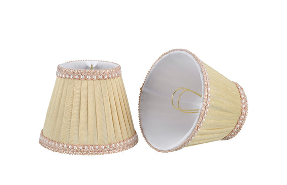 # 33002-X Small Pleated Empire Shape Mini Chandelier Clip-On Lamp Shade, Transitional Design in Ivory, 5