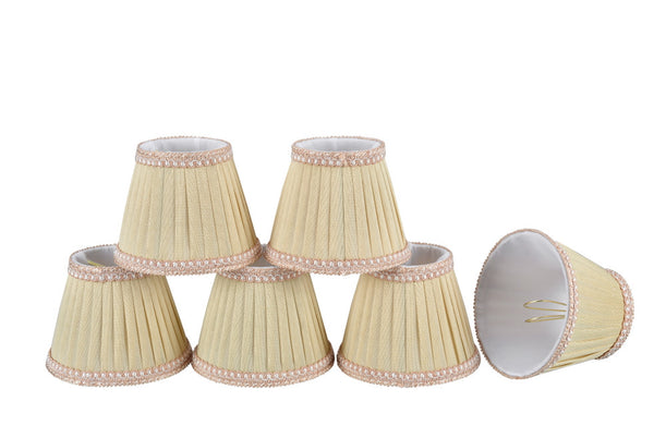 "# 33002-X Small Pleated Empire Shape Mini Chandelier Clip-On Lamp Shade, Transitional Design in Ivory, 5"" bottom width (3"" x 5"" x 4"" ) - Sold in 2, 5, 6 and 9 Packs"