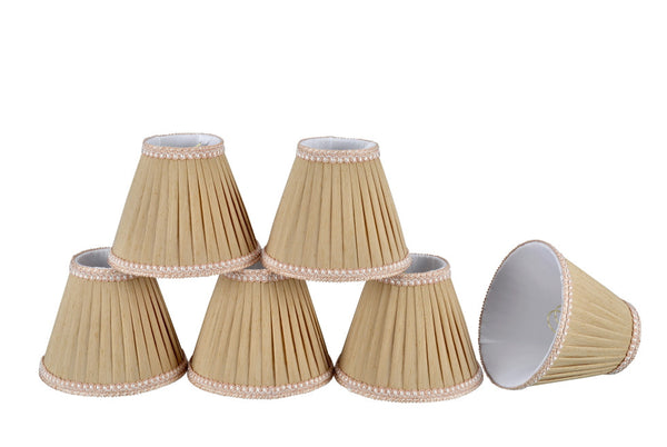 "# 33003-X Small Pleated Empire Shape Mini Chandelier Clip-On Lamp Shade, Transitional Design, Crème, 6"" bottom width (3"" x 6"" x 5"" ) - Sold in 2, 5, 6 and 9 Packs"