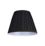 "# 33005  Transitional Pleated Empire Shape Spider Construction Lamp Shade in Black Tetoron Cotton Fabric, 9"" wide (5"" x 9"" x 7"")"