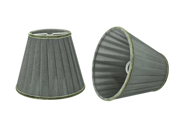 # 33111-X Small Pleated Empire Shape Chandelier Clip-On Lamp Shade Set of 2, 5, 6,and 9, Transitional Design in Dark Grey, 5