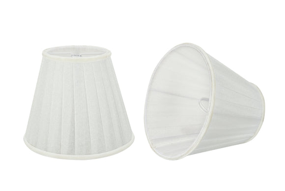 # 33112-X Small Pleated Empire Shape Chandelier Clip-On Lamp Shade Set of 2, 5, 6,and 9, Transitional Design in White, 5