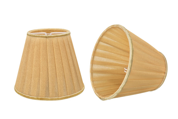 # 33113-X Small Pleated Empire Shape Chandelier Clip-On Lamp Shade Set of 2, 5, 6,and 9, Transitional Design in Gold, 5