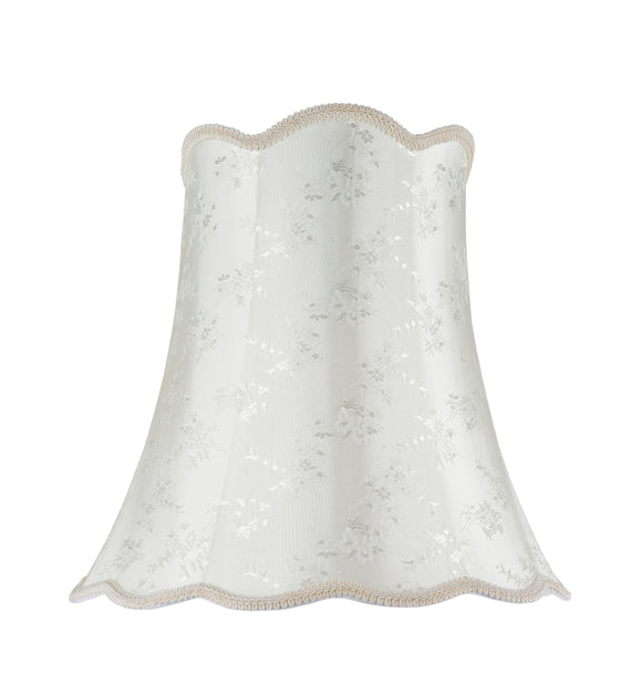 # 34002 Transitional Scallop Bell Shape Spider Construction Lamp Shade in Ivory with Floral Design, 16