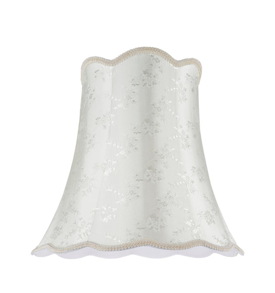 "# 34002 Transitional Scallop Bell Shape Spider Construction Lamp Shade in Ivory with Floral Design, 16"" wide (10"" x 16"" x 15"")"
