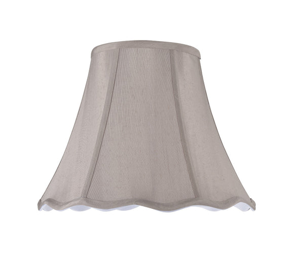 # 34004  Transitional Scallop Bell Shape Spider Construction Lamp Shade, Taupe Faux Silk Fabric, 14