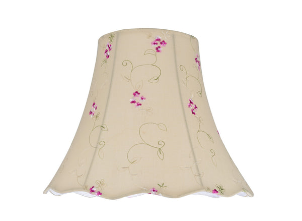 "# 34009 Transitional Scallop Bell Shape Spider Construction Lamp Shade in Apricot with Floral Design, 12"" wide (6"" x 12"" x 9 1/2"")"